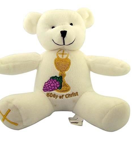 (First Communion Teddy Bear with Embroidered Chalice and Cross, 6 Inch)