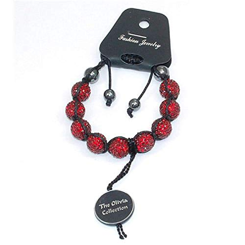 Bordeaux Red Rhinestone Disco Ball Adjustable Bracelet by The Olivia Collection