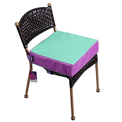 Toddler Booster Seat for Dining Double Straps Washable Portable Thick Chair Increasing Cushion for Baby Kids (Purple)