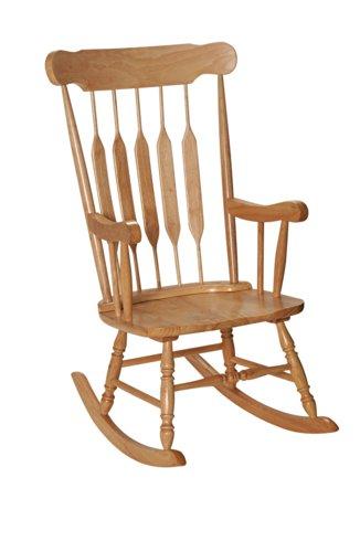 GiftMark 1233-3800N Adult Solid Wood Rocking Chair, Natural Adult Rocking Chair Natural