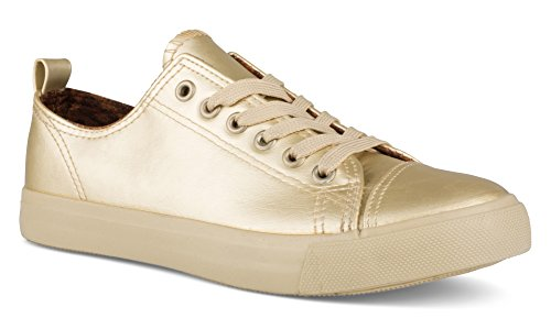 Twisted Women's Low Top Faux Leather Sneaker Gold