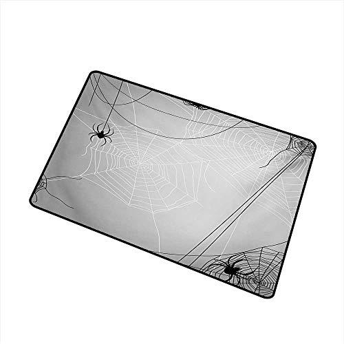 BeckyWCarr Spider Web Front Door mat Carpet Spiders Hanging from Webs Halloween Inspired Design Dangerous Cartoon Icon Machine Washable Door mat W23.6 x L35.4 Inch,Grey Black White -