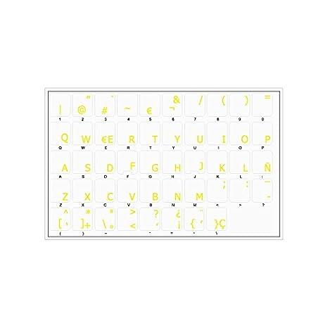 Pegatinas teclado español transparentes con letras AMARILLAS: Amazon.es: Electrónica