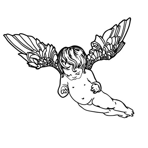 Flying Cherub - Baby's Room Cute Naked Flying Cherub Wall Sticker for Kids Bedroom Headboard Decoration Vinyl Angel Wall Decal Home Decor