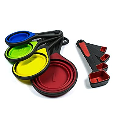 Silicone Measuring cups collapsible - Spoon and cup measuring set - 8-piece from Evergreen