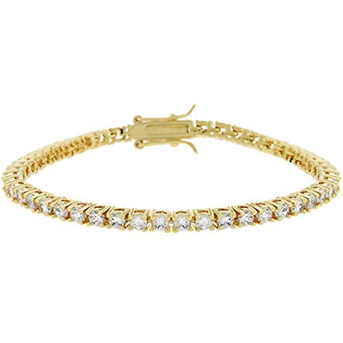 14k Gold Bonded 7 Inch Tennis Bracelet with Princess Cut Clear Cubic Zirconia in a Channel Setting and a Box Clasp in Goldtone