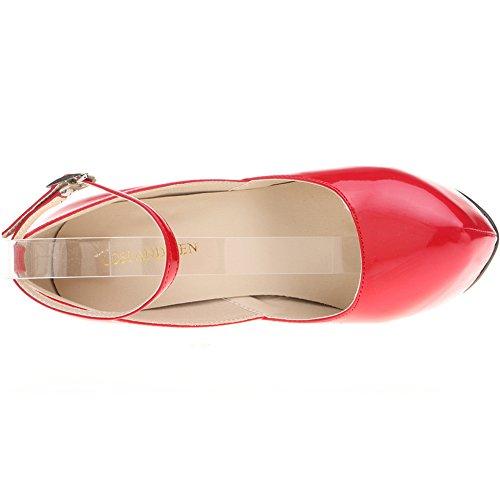 Loslandifen Femmes Pompes Fermé Orteil Cheville Sangle Haut Talon Plateforme Chaussures De Soirée Rouge