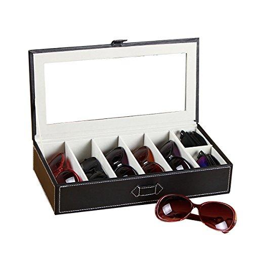 UnionPlus 5-Slot Eyeglass Sunglass Glasses Organizer Collector - Crocodile Faux Leather Storage Case Box - And Sunglass Watch Storage