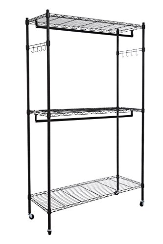 Homdox Double Rod Closet 3 Shelves Wire Shelving Clothing Rolling Rack Heavy Duty Garment Rack with Wheels and Side Hooks (Hang Double Closet)