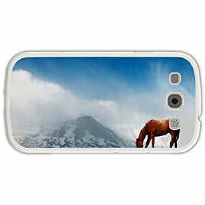 Customized Samsung Galaxy S3 SIII 9300 Hard Shell Cover Case Diy Personalized Designhorse Mountains White