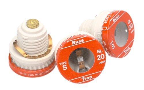 Bussmann BP/SL-20 20 Amp Time Delay Loaded Link Rejection Base Plug Fuse, 125V UL Listed Carded, 3-Pack by Bussmann