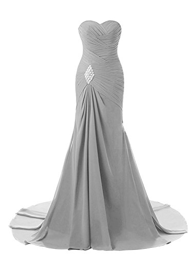 Lily Weddding Womens Sweetheart Mermaid Prom Bridesmaid Dresses 2018 Long Formal Evening Ball Gowns FED00302 Grey Size8