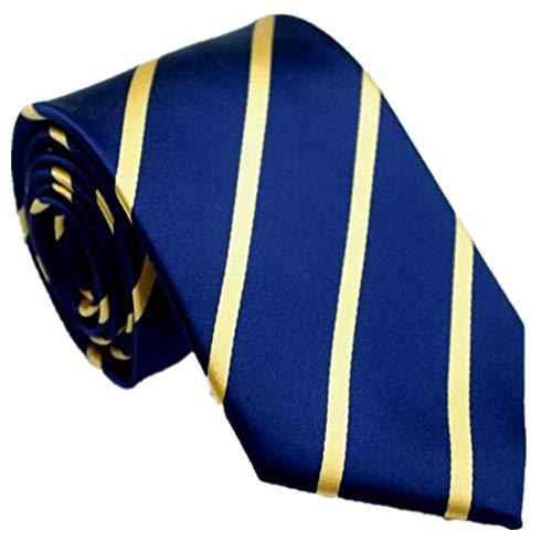 CityRaider Men's Silk Tie Gold Striped Navy Blue Necktie 3.15