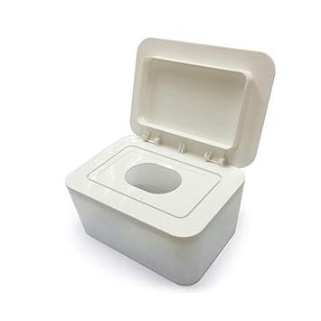 White Dustproof Tissue Storage Box Case Wet Wipes Dispenser Holder with Lid for Home Office Desk Jzenzero Wipes Dispenser