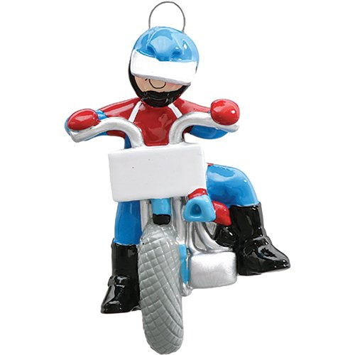 Personalized Dirt Bike Christmas Ornament for Tree 2018 - Racer Athlete Cycling with Blue Helmet on Rough Terrain - Extreme Sport Hobby Activity Girl Chopper Motorcycle - Free Customization
