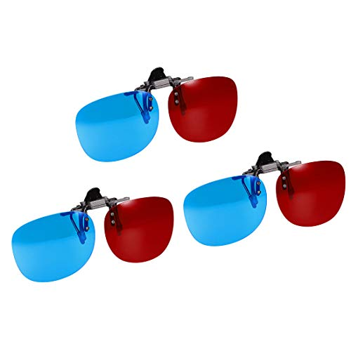 uxcell Red-Blue Anaglyph 3D Clip-on Glasses for Movies 3D Print Magazines TV Anaglyph Photos 3pcs