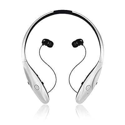 Bluetooth 4.0+APTX Headphones -- GRDE® Sweat-proof Sport Wireless Stereo Neckband Headset With Noise Cancelling Retractable Earbuds , Voice Control Music Earphones for Most Smartphones (Black)