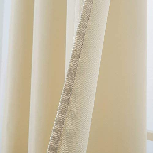 54x 108, Beige Cross Land Outdoor Curtains UV Protection Thermal Insulated for Patio,Garden