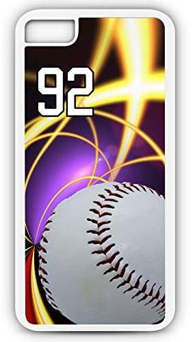 - iPhone 7 Case Baseball B055Z Choice of Any Personalized Name or Number Tough Phone Case by TYD Designs in White Plastic and Black Rubber with Team Jersey Number 92