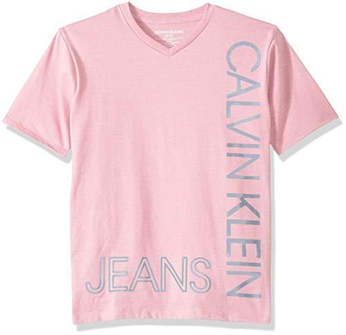 Calvin Klein Boys' Big New Icon V-Neck Short Sleeve Tee Shirt, Powder Puff Heather Medium (10/12)