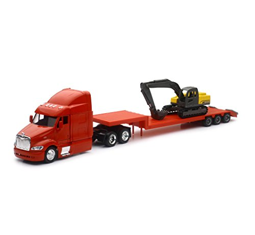 Peterbilt Tractor Trailer Semi Truck (NEW 1:43 NEWRAY TRUCK & TRAILER COLLECTION - PETERBILT MODEL 387 LOW BOY WITH EXCAVATOR Diecast Model By NEW RAY TOYS)