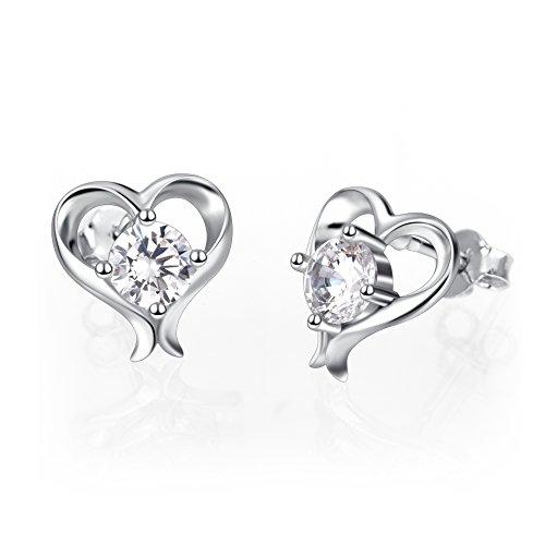 925 Sterling Silver Love Heart Stud Earrings For Women Girls