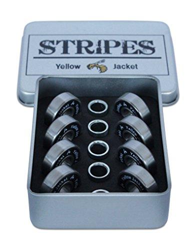 Yellow Jacket Premium Skateboard Bearings, Pro Longboard Bearings, 608, ABEC 9, Washers and Spacers, Black Mamba (Pack of (Yellow Jacket Wheels)