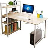 Smilee Home Office Desk with Shelves, Computer Desk Workstation, Sturdy Metal Frame Compact Studying Table for Home and…
