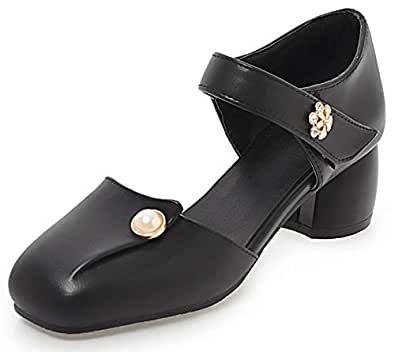88e99709775 SFNLD Women s Sweet Rhinestone Beaded Square Toe Low Cut High Block Heels  Hook and Loop Strap