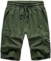 Men Casual Drawstring Solid Color Shorts Summer Loose Knee Length Pant with Pockets