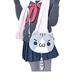TOMORI® Cute Women Anime Kaomoji-kun Emotiction plush kawaii Cat single Cross Body shoulder bag