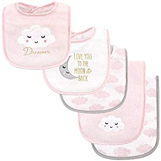 Hudson Baby Unisex Baby Cotton Terry Bib and Burp Cloth Set, Dreamer, One Size