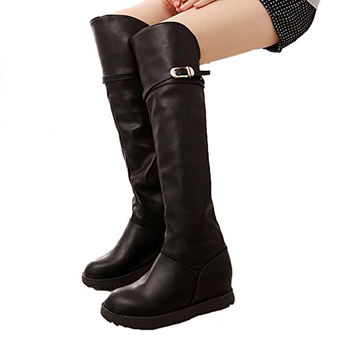 Long PU Women's ANDAY Flats Vintage Leather Black Boots O6qwxXUw