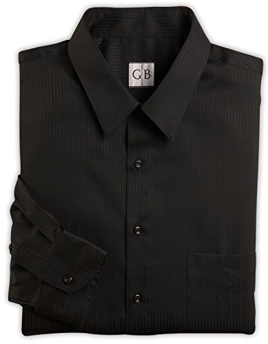 Geoffrey Beene Big and Tall Wrinkle-Free Tonal Sateen Dress Shirts (18 34/35, Black)