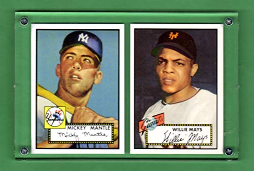 2020 Topps 1952 Reprints - Mickey Mantle, Willie Mays 1952 Topps Baseball Archives Reprint (2) Card Lot in an Acrylic Case (New York Yankees) (New York Giants) (San Francisco Giants) (New York Mets)