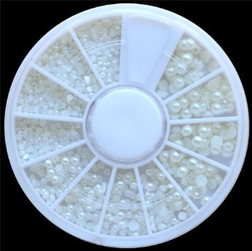ReNext White Pearl Nail Art Stone Different Size Wheel Rhinestones Beads (Pearl Stone)