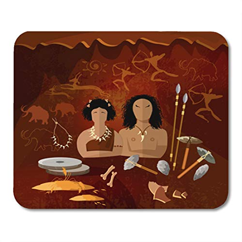 Semtomn Gaming Mouse Pad Stone Age Cave Man and Woman Neanderthal Family in Prehistoric 9.5