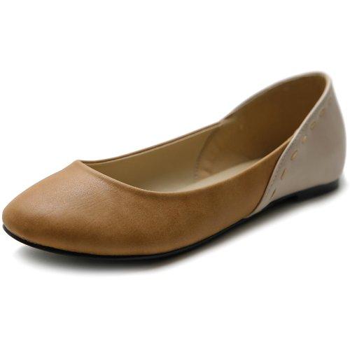 Ollio Women's Shoe Ballet Cute Heel Patch Pastel Color Flat(9 B(M) US, Tan Brown)