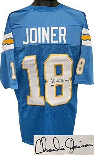 (Signed Charlie Joiner Jersey - Light Blue TB Custom Stitched Pro Style XL Leaf Authentics Hologram - Autographed NFL Jerseys)