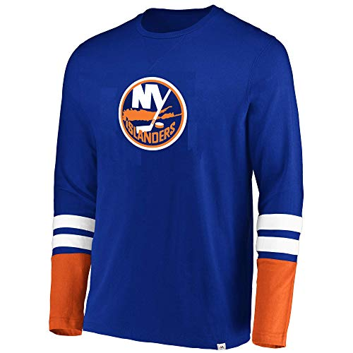 Sleeve Hockey Skates Long (Majestic NHL Men's The Vintage 5 Minute Major Flex Blend Long Sleeve T-Shirt (X-Large, York Islanders))