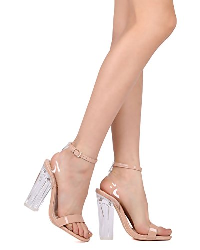 Sandalo Con Tacco A Spillo Lucchetto Donna Alrisco - Elegante, Da Sposa, Costume - Pompa Con Tacco Grosso - Gd45 By Nude