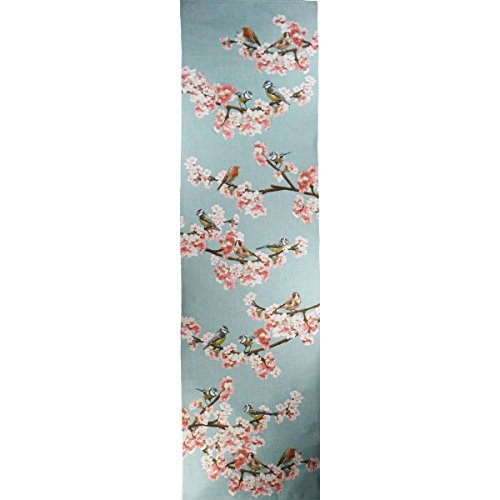 Passerines Branch Blue French Jacquard European Decorative Birds Tapestry Table Runner Bed End Scarf 19 x 71'' by Charlotte Home Furnishings Inc.