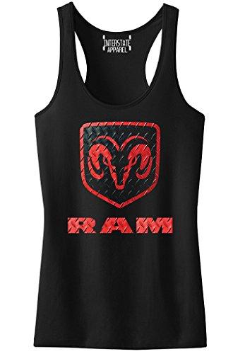 Junior's Dodge RAM Logo Black Racerback Tank Top T-Shirt Medium Black