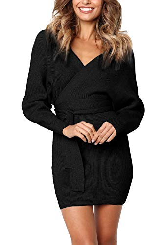 y V Neck Wrap Belted Batwing Long Sleeve Backless Pencil Bodycon Knitted Mini Sweater Dress ()