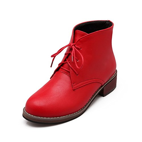 Allhqfashion Women's Solid Pu Low Heels Lace up Round Closed Toe Boots Red