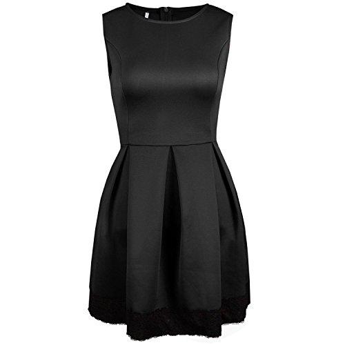 Pilusooou Women Sexy O-neck Sleeveless Cocktail Party Evening Mini Dress Black M (70s Dress Up Ideas)