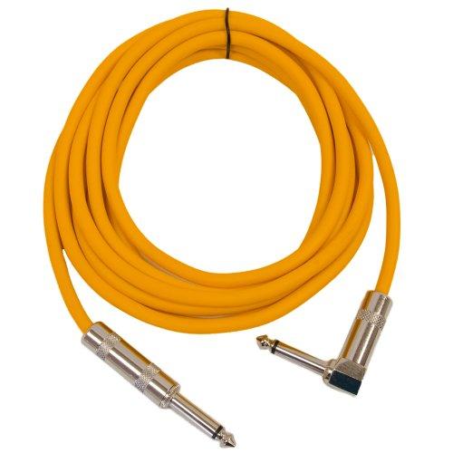 Seismic Audio SAGC10R-Orange 10-Feet TS 1/4-Inch to 1/4-Inch Right Angle TS Guitar Cables, Orange