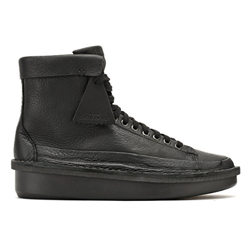Clarks Mens Black Leather Oswyn Hi Shoes VJOD49