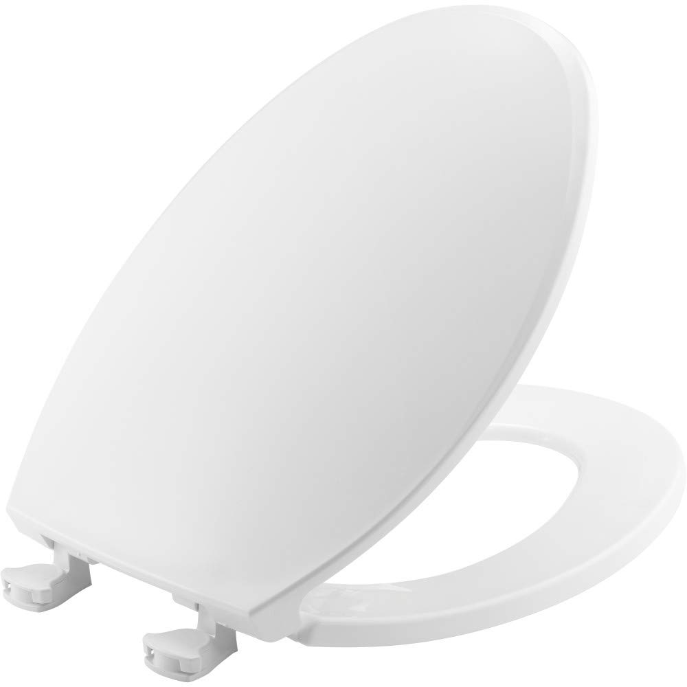 CHURCH 130EC 000 Toilet Seat with Easy Clean & Change Hinges, ELONGATED, Plastic, White by Church