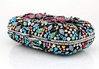 FANFEI Women Beading/Appliqes/Crystals Glasses/Metal Evening Bag Rhinestone Crystal Evening Bags Gold/Silver/Rainbow, Oro Oro
